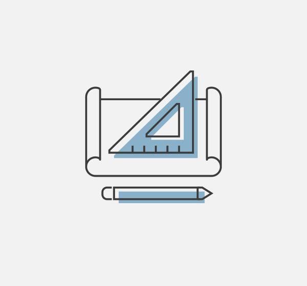 Darstellung von einem Geodreieck in Form von einem Icon